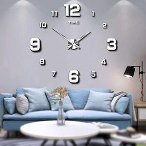 Mintime Modern Frameless DIY Wall Clock Large 3D W
